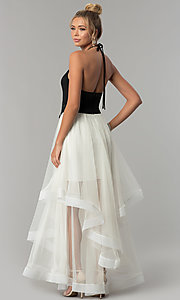 Image of black halter prom dress with ivory tiered tulle skirt. Style: BN-281BN Back Image