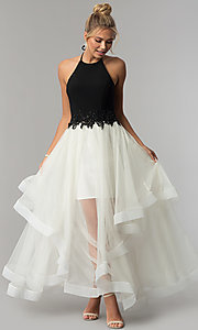 Image of black halter prom dress with ivory tiered tulle skirt. Style: BN-281BN Front Image
