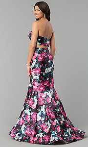 Image of two-piece floral-print mermaid prom dress. Style: BL-PG3165 Back Image
