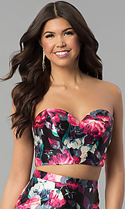 Image of two-piece floral-print mermaid prom dress. Style: BL-PG3165 Detail Image 1