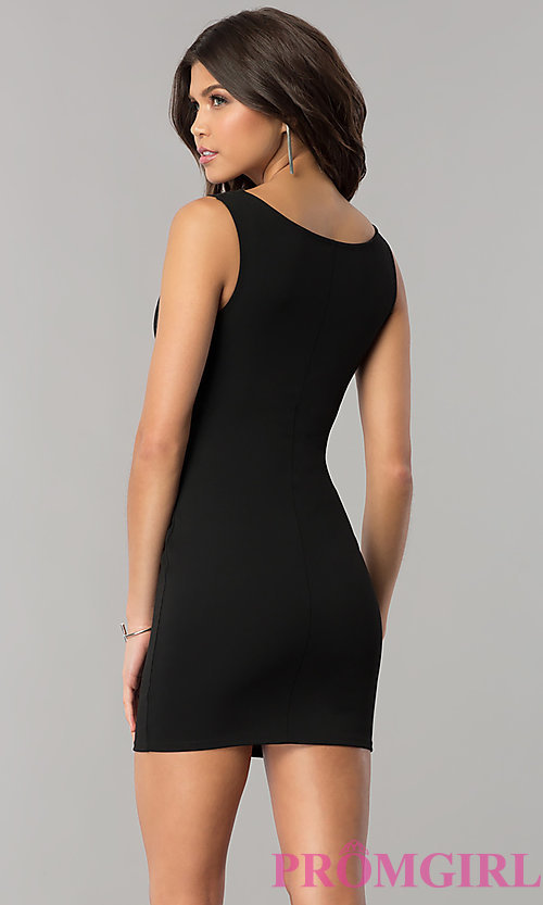 Image of short bodycon sheath holiday party dress. Style: BLU-BD8678 Back Image