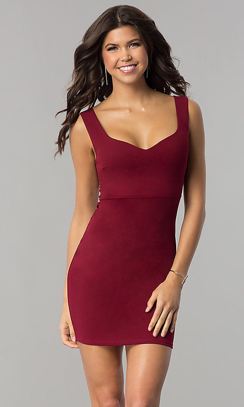 Image of short bodycon sheath holiday party dress. Style: BLU-BD8678 Front Image