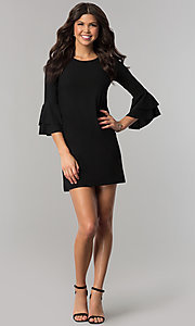 Image of short party dress with double-flounce 3/4 sleeves. Style: CH-2998 Detail Image 1