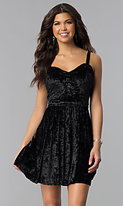 Short Sleeveless Velvet Black Holiday Party Dress