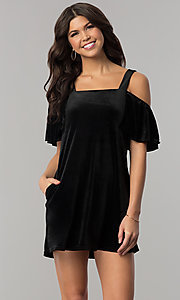Short Cold-Shoulder Shift Velvet Party Dress