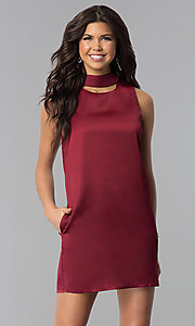 Image of wine red short shift holiday party dress with pockets. Style: VJ-LD41792 Front Image
