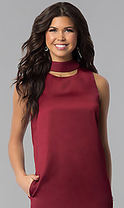 Image of wine red short shift holiday party dress with pockets. Style: VJ-LD41792 Detail Image 1