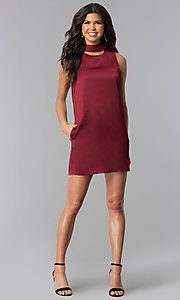 Image of wine red short shift holiday party dress with pockets. Style: VJ-LD41792 Detail Image 2