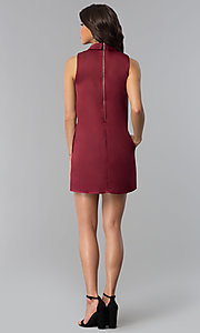 Image of wine red short shift holiday party dress with pockets. Style: VJ-LD41792 Detail Image 3