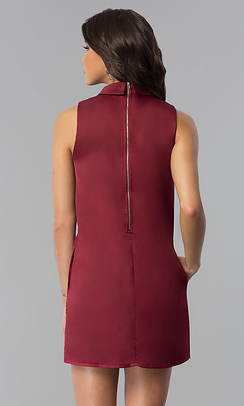 Image of wine red short shift holiday party dress with pockets. Style: VJ-LD41792 Back Image