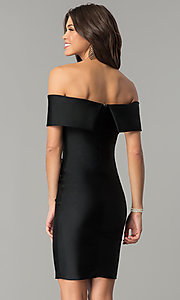 Image of spandex short off-the-shoulder Atria party dress. Style: AT-8509 Back Image