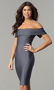 Image of spandex short off-the-shoulder Atria party dress. Style: AT-8509 Detail Image 3