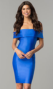 Image of spandex short off-the-shoulder Atria party dress. Style: AT-8509 Front Image