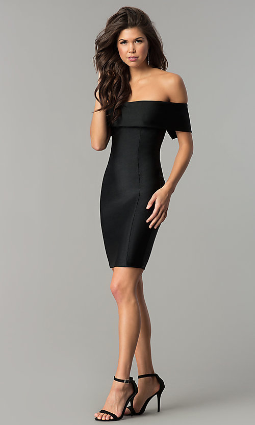 Image of spandex short off-the-shoulder Atria party dress. Style: AT-8509 Detail Image 2