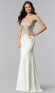 Image of JVNX by Jovani ivory long embellished prom dress. Style: JO-JVNX59147 Front Image