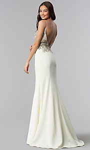 Image of JVNX by Jovani ivory long embellished prom dress. Style: JO-JVNX59147 Back Image