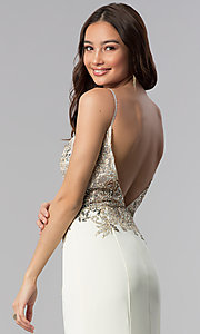 Image of JVNX by Jovani ivory long embellished prom dress. Style: JO-JVNX59147 Detail Image 2