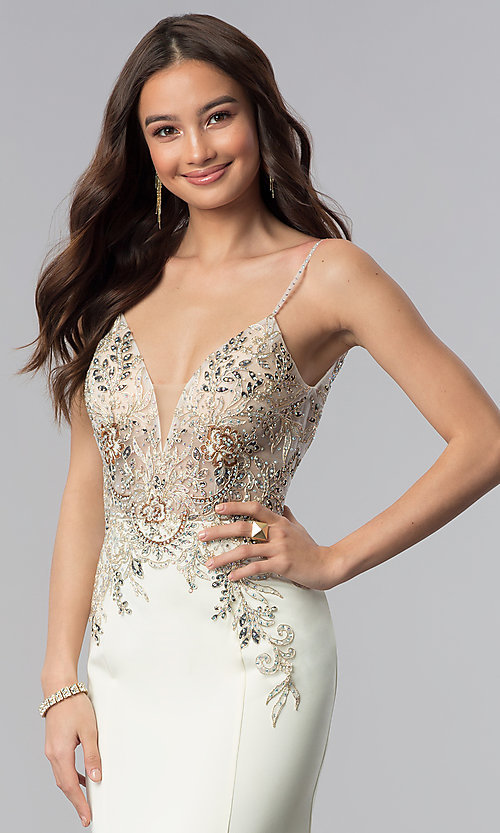 Image of JVNX by Jovani ivory long embellished prom dress. Style: JO-JVNX59147 Detail Image 1