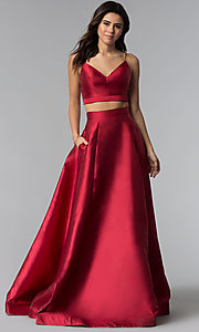 JVNX by Jovani Two-Piece Burgundy Corset Prom Dress