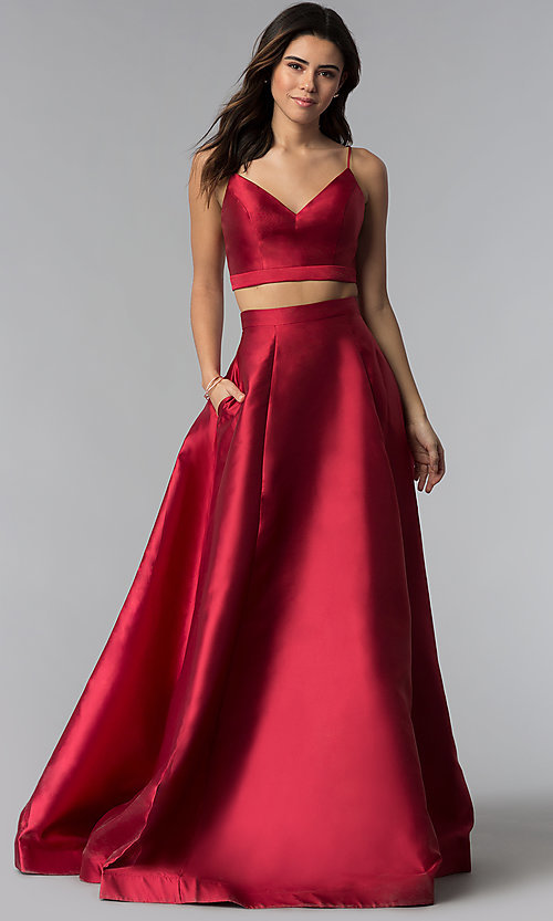 Two-Piece JVNX by Jovani Long Red Prom Dress -PromGirl
