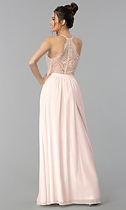 Image of long v-neck lace-back chiffon prom dress. Style: LP-27442 Front Image