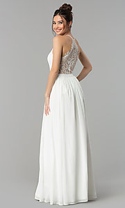Image of long v-neck lace-back chiffon prom dress. Style: LP-27442 Detail Image 2