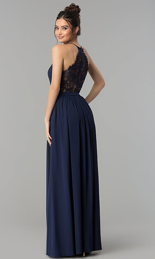 Image of long v-neck lace-back chiffon prom dress. Style: LP-27442 Detail Image 3