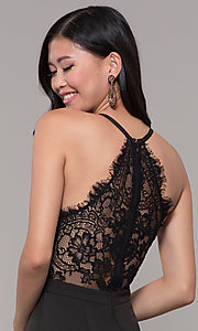 Image of lace-back long v-neck mermaid prom dress. Style: LP-27443 Detail Image 4