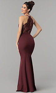 Image of lace-back long v-neck mermaid prom dress. Style: LP-27443 Detail Image 7