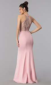 Lace-Back Long V-Neck Mermaid Prom Dress