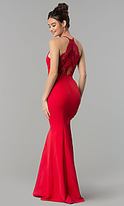 Image of lace-back long v-neck mermaid prom dress. Style: LP-27443 Detail Image 6