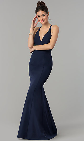 8151b83d0 Navy Burgundy Black Red. Lace-Back Long V-Neck Mermaid Prom Dress