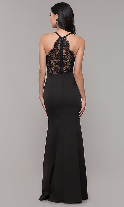 Image of lace-back long v-neck mermaid prom dress. Style: LP-27443 Detail Image 2