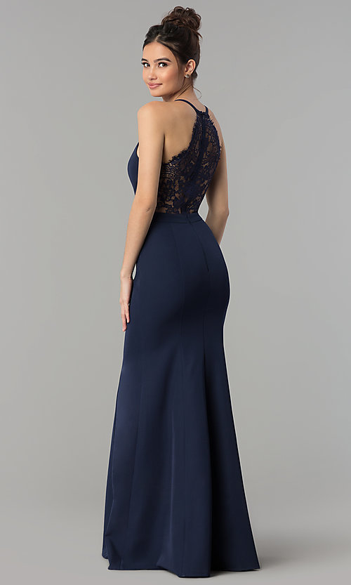 Image of lace-back long v-neck mermaid prom dress. Style: LP-27443 Detail Image 5