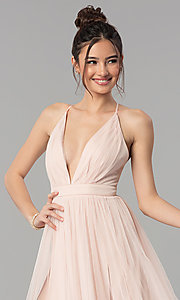 Image of long tulle formal prom dress with low v-neck. Style: LP-27450 Detail Image 5