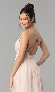 Image of long tulle formal prom dress with low v-neck. Style: LP-27450 Detail Image 6