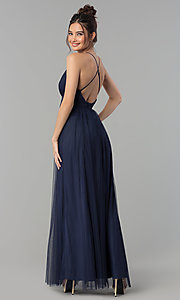 Image of long tulle formal prom dress with low v-neck. Style: LP-27450 Back Image