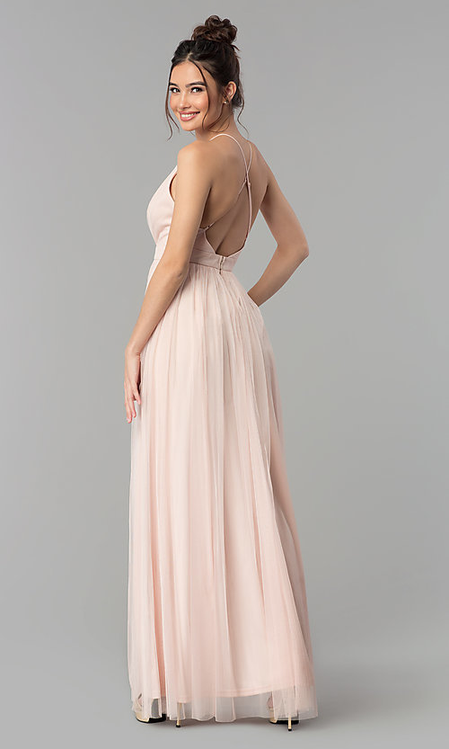 Image of long tulle formal prom dress with low v-neck. Style: LP-27450 Detail Image 4