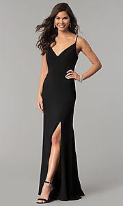 Image of long black v-neck prom dress with slit. Style: JU-10695 Front Image