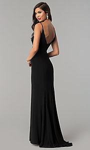 Image of long black v-neck prom dress with slit. Style: JU-10695 Back Image
