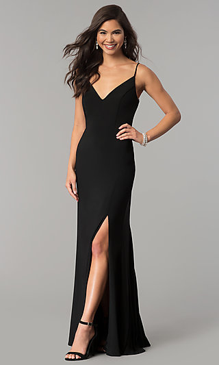 Long Black V-Neck Prom Dress with Slit