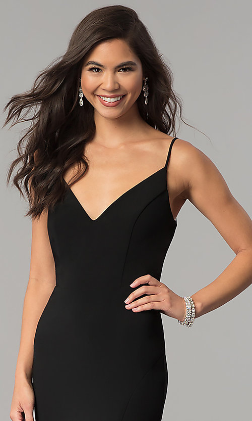 Image of long black v-neck prom dress with slit. Style: JU-10695 Detail Image 1