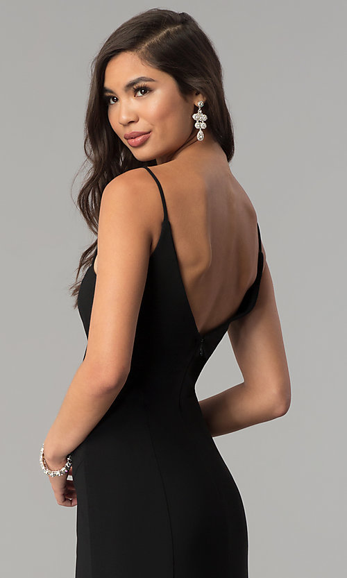 Image of long black v-neck prom dress with slit. Style: JU-10695 Detail Image 2