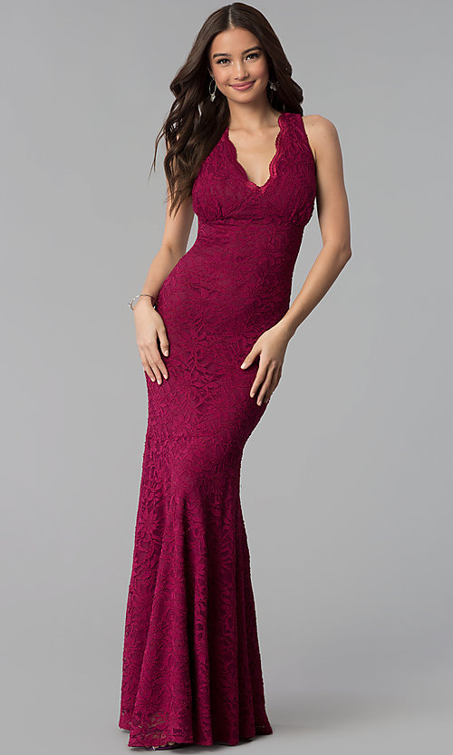 V-Neck Wine Red Lace Long Prom Dress - PromGirl