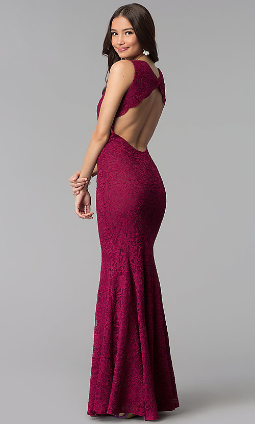 Image of wine red lace Jump prom dress with back cut out. Style: JU-10746 Back Image