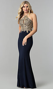 Lace-Appliqued High-Neck Long Prom Dress