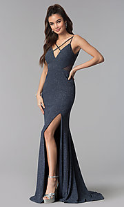 Image of long sheer-waist glitter slate black prom dress. Style: DMO-J319527 Front Image