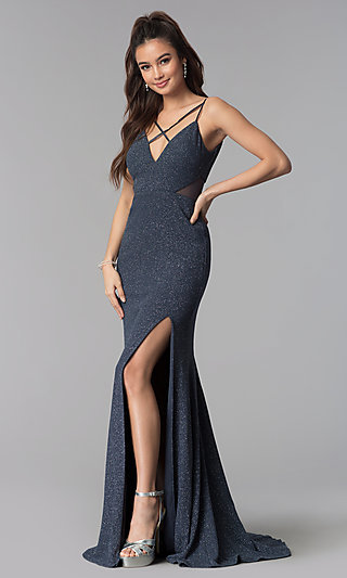 Long Sheer-Waist Glitter Slate Black Prom Dress