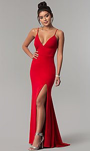 Image of long side-slit v-neck formal red prom dress. Style: DMO-J319577 Front Image