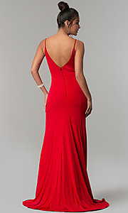Image of long side-slit v-neck formal red prom dress. Style: DMO-J319577 Back Image